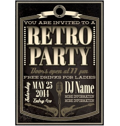 template for a retro party concert events vector image