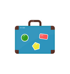 vintage old suitcase with stickers vector image