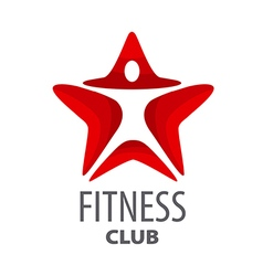 logo red star for fitness club vector image