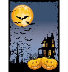 Scary pumpkins by night vector image
