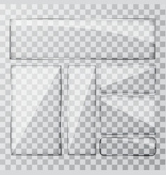 Set glass banner on a transparent background vector image