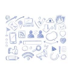 social media network doodles internet vector image