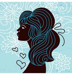 beautiful woman silhouette profile vector image vector image