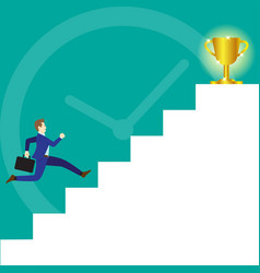 businessman running on stairs to trophy vector image vector image