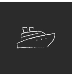 Cruise ship icon drawn in chalk vector image