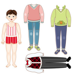 paper doll boy set of formal and casual clothes vector image