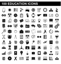 100 education icons set simple style vector