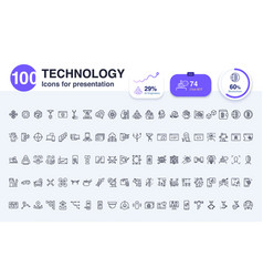 100 technology line icon vector image