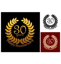 30 Years Anniversary jubilee wreath vector image