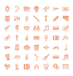 49 musical icons vector image