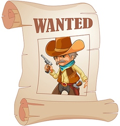 A paper with a print of a wanted cowboy vector image