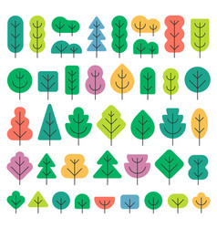 a set of trees of different shapes and colors in vector image