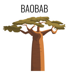 African baobab tree icon emblem with text isolated vector
