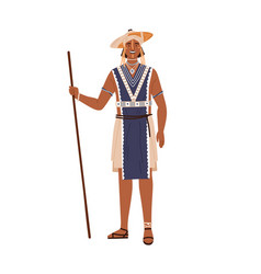 african tribal man holding wand or stick in hand vector image