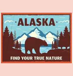Alaska poster design mountain adventure patch vector