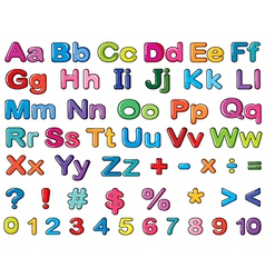 Alphabets and numbers vector