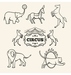 Animal emblems logos labels set vector image