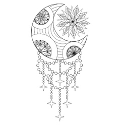 Bohemian Moon and Sun Hand drawn Zentangle Moon vector