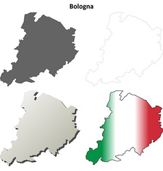 Bologna blank detailed outline map set vector image