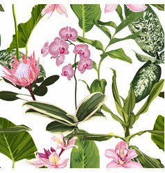 bright seamless pattern with tropical pink flowers vector image