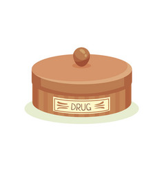 brown metal jar with drugs container for storage vector image