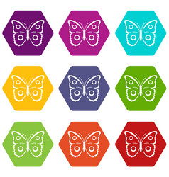 Butterfly peacock eye icon set color hexahedron vector