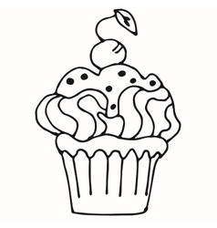 cake with strawberry cupcake drawn in outline vector image vector image