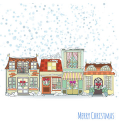 Christmas and new year house invitation card vector