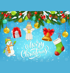 Christmas gift snowman bell hanging on xmas tree vector