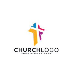 Church logo christian symbols cross jesus vector
