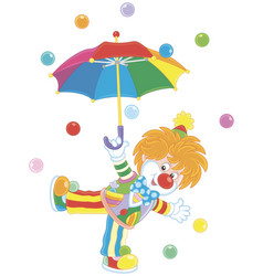 circus clown with an umbrella vector image