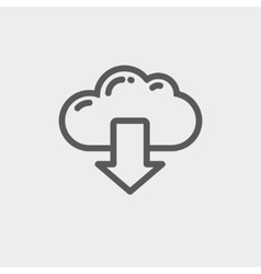 Cloud with arrow down thin line icon vector image