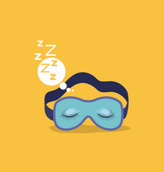 Color background with sleep mask with snoring sign vector