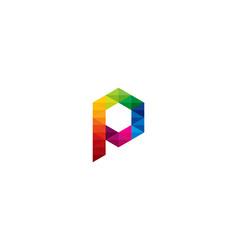 color letter p logo icon design vector image