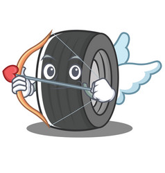 Cupid tire character cartoon style vector