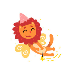Cute winged lion in a party hat with a magic wand vector