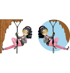 Cute young Asian woman mountaineer vector image