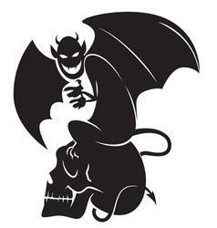 devil skull sihouette vector image