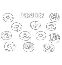 Donuts elements hand drawn set coloring book vector