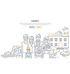 Family - line design style banner with place for vector