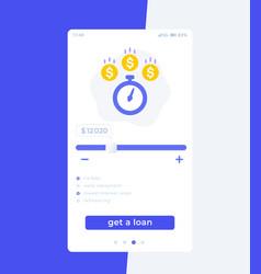 Fast loan app mobile ui design vector