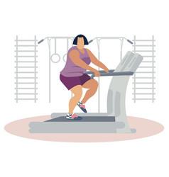 fat woman jogging on treadmill vector image