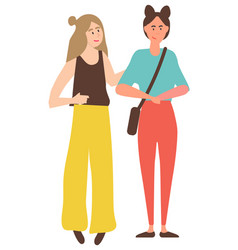 female friends walking calmly and talking isolated vector image
