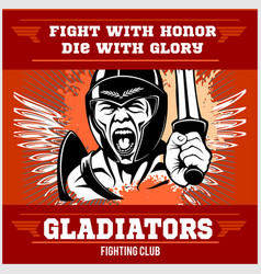 fight club emblem with gladiator vector image