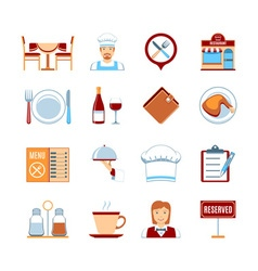 Flat Design Restaurant Icons vector image