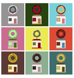 flat icons set donut shop vector image