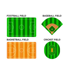Football basketball baseball and cricket field vector