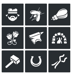 Forge icons vector image