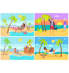 Freelancers collection seaside vector