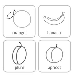 Fruits and berries contours objects outline icons vector